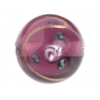 Glass Lamp Bead 14mm Round Amethyst/Rose